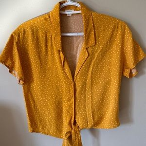 GARAGE Tie Front Button Up Blouse